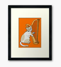 Calico Cat Plays the Harp Framed Print