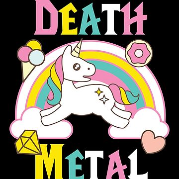 Death Metal Unicorn Rainbow TShirt Sarcastic Music Graphic Design by artbyanave