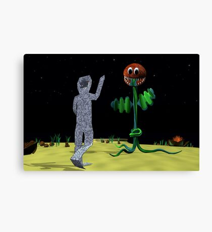 Origami Man and Venus Fly Trap Canvas Print