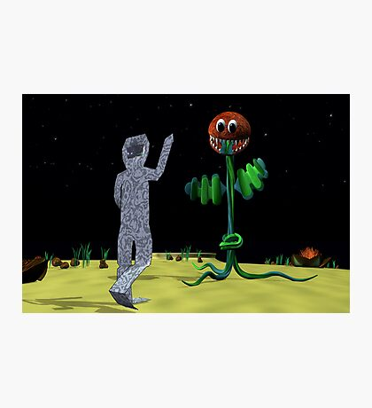 Origami Man and Venus Fly Trap Photographic Print