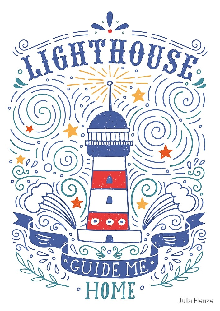 Lighthouse with a hand-lettering quote by Julia Henze