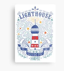 Lighthouse with a hand-lettering quote Metal Print