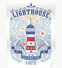 Lighthouse with a hand-lettering quote Poster