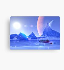 Exploring an Ice Planet Sci-Fi Art Canvas Print