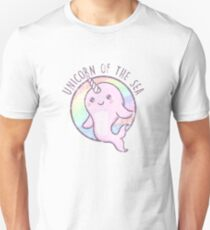 Cute Girls Unicorn Of The Sea Rainbow Color Narwhal T-Shirt