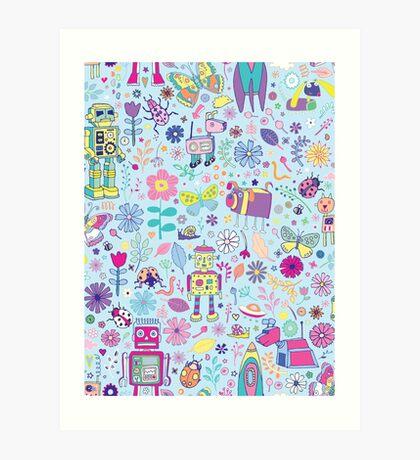 Electric Dreams - fun floral robot pattern by Cecca Designs Art Print