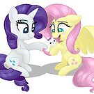 Rarity and Fluttershy - Bunny Decorating by Raspberry Studios