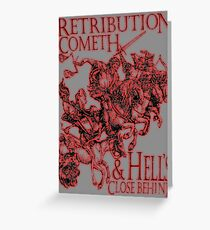 REVENGE, Four Horsemen of the Apocalypse, Durer, Retribution Cometh & Hell's Close behind! Biblical, Bible, Red Shadow on White Greeting Card