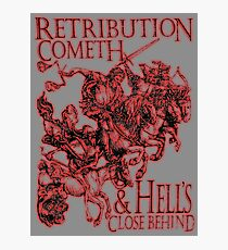 REVENGE, Four Horsemen of the Apocalypse, Durer, Retribution Cometh & Hell's Close behind! Biblical, Bible, Red Shadow on White Photographic Print