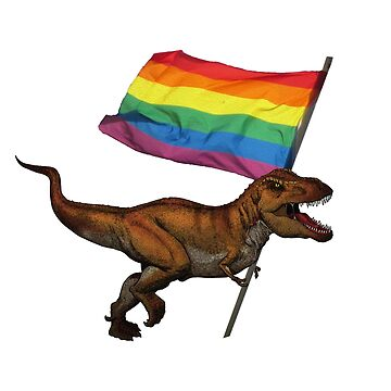 LGBT Pride Flag Tyrannosaurus Rex by ProudApparel
