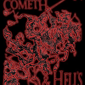 Four Horsemen of the Apocalypse, Durer, Retribution Cometh & Hell's Close behind! Biblical, red shadow on black by TOMSREDBUBBLE