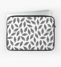 Grey Watercolor Leaves Pattern Laptop Sleeve