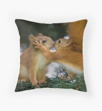 Baby Squirrel Kiss Throw Pillow