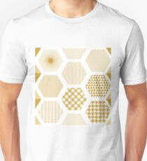 White and golden oriental print. T-Shirt