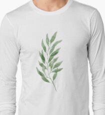 Green watercolor eucalyptus branch pattern T-Shirt