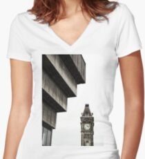 Birmingham Old Library and Big Brum Clock Women's Fitted V-Neck T-Shirt