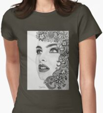 Woman in graphite pencil Womens Fitted T-Shirt