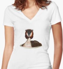 Great Crested Grebe Women's Fitted V-Neck T-Shirt