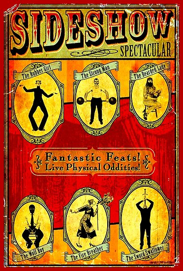 SIDESHOW SPECTACULAR; Vintage Circus Advertising Print by posterbobs