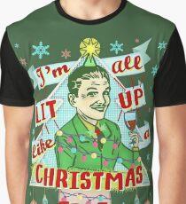 Funny Christmas Retro Man Drinking Lit Up Humor Graphic T-Shirt