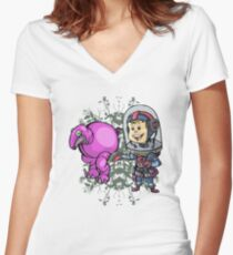 SpaceKid and a Roundbodied Grazealump Women's Fitted V-Neck T-Shirt