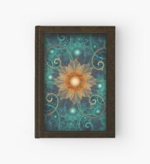Beautiful Tangerine Orange and Teal Lotus Fractals Hardcover Journal