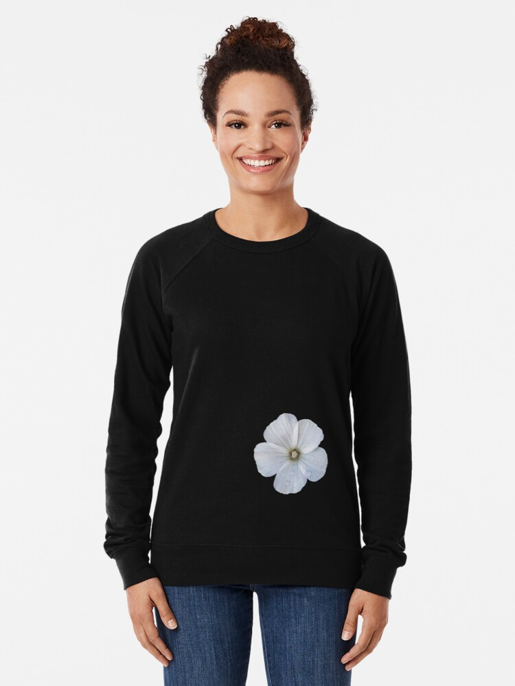 Alternate view of White hibiscus flower Lightweight Sweatshirt