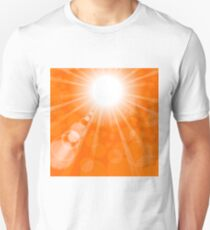 Abstract Sun Background. Orange Summer Pattern. Bright Background with Sunshine. SunBurst with Flare and Lens. Unisex T-Shirt