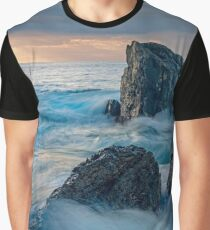 Sunrise landscape with ocean waves and rocks Graphic T-Shirt