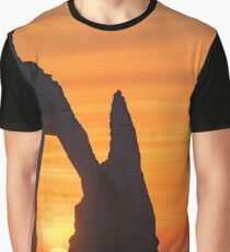 Etretat steep arch shaped cliff at sunset,  Normandy, France Graphic T-Shirt