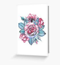 Cute watercolor rose vignette Greeting Card