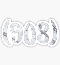 (908) Black and White marble Sticker