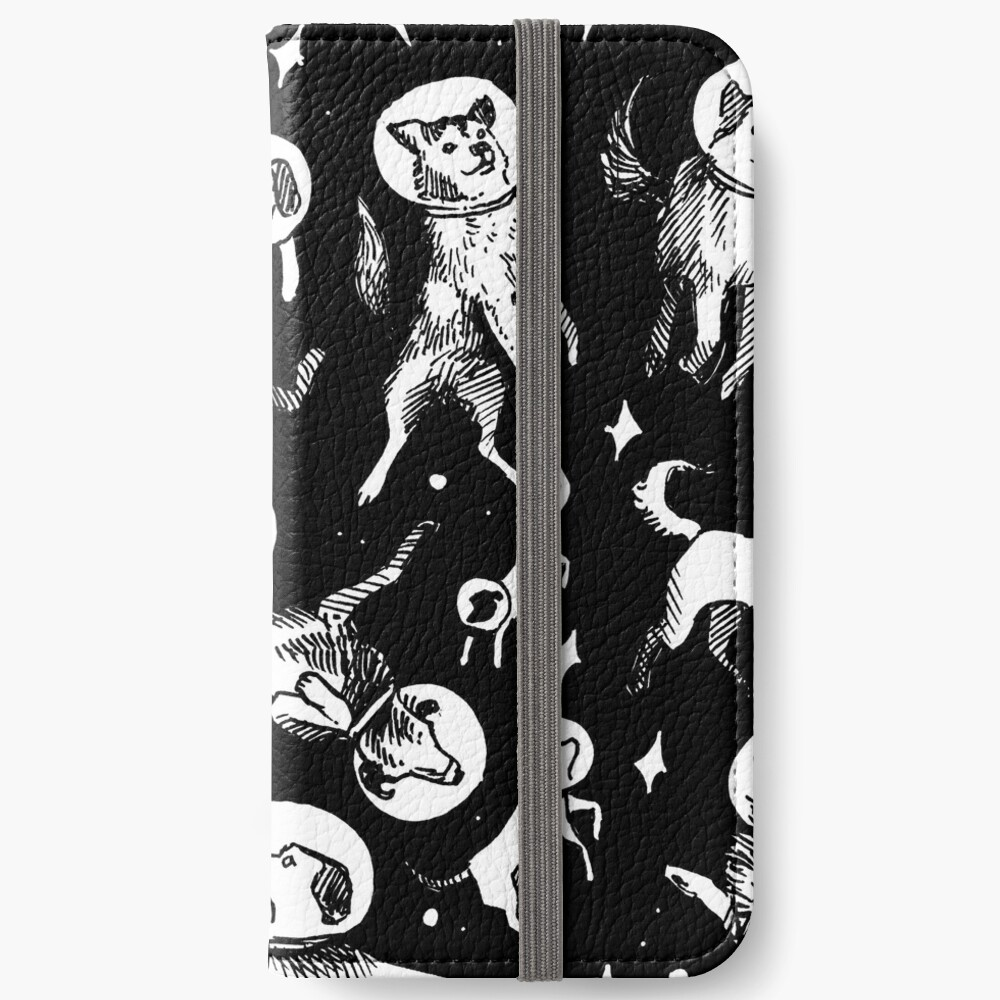 Space dogs (black background) iPhone Wallet