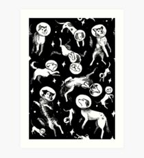 Space dogs (black background) Art Print
