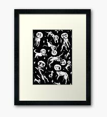 Space dogs (black background) Framed Print