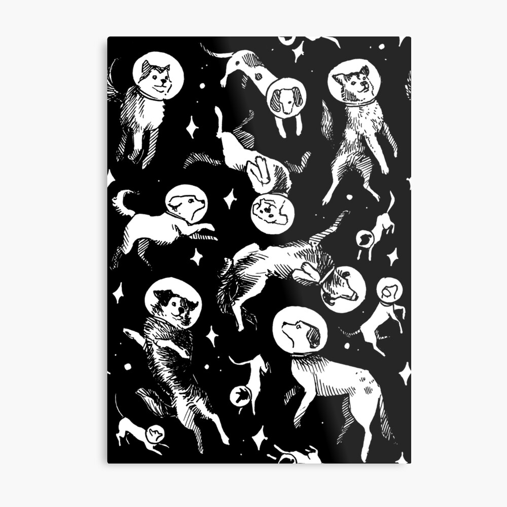 Space dogs (black background) Metal Print