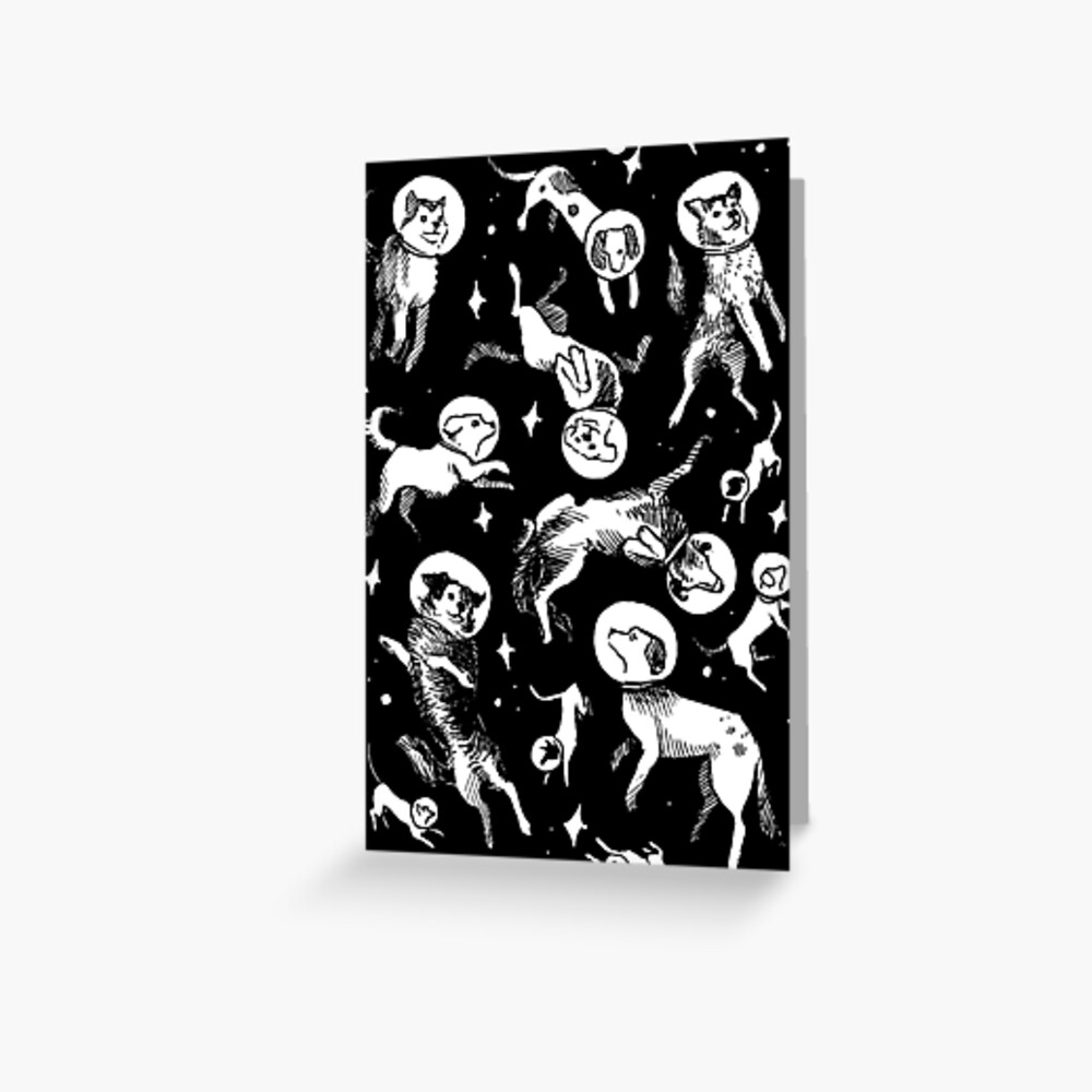 Space dogs (black background) Greeting Card