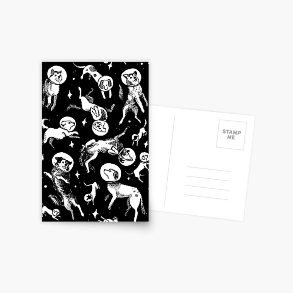 Raum Hunde (schwarzer Hintergrund) Postkarte