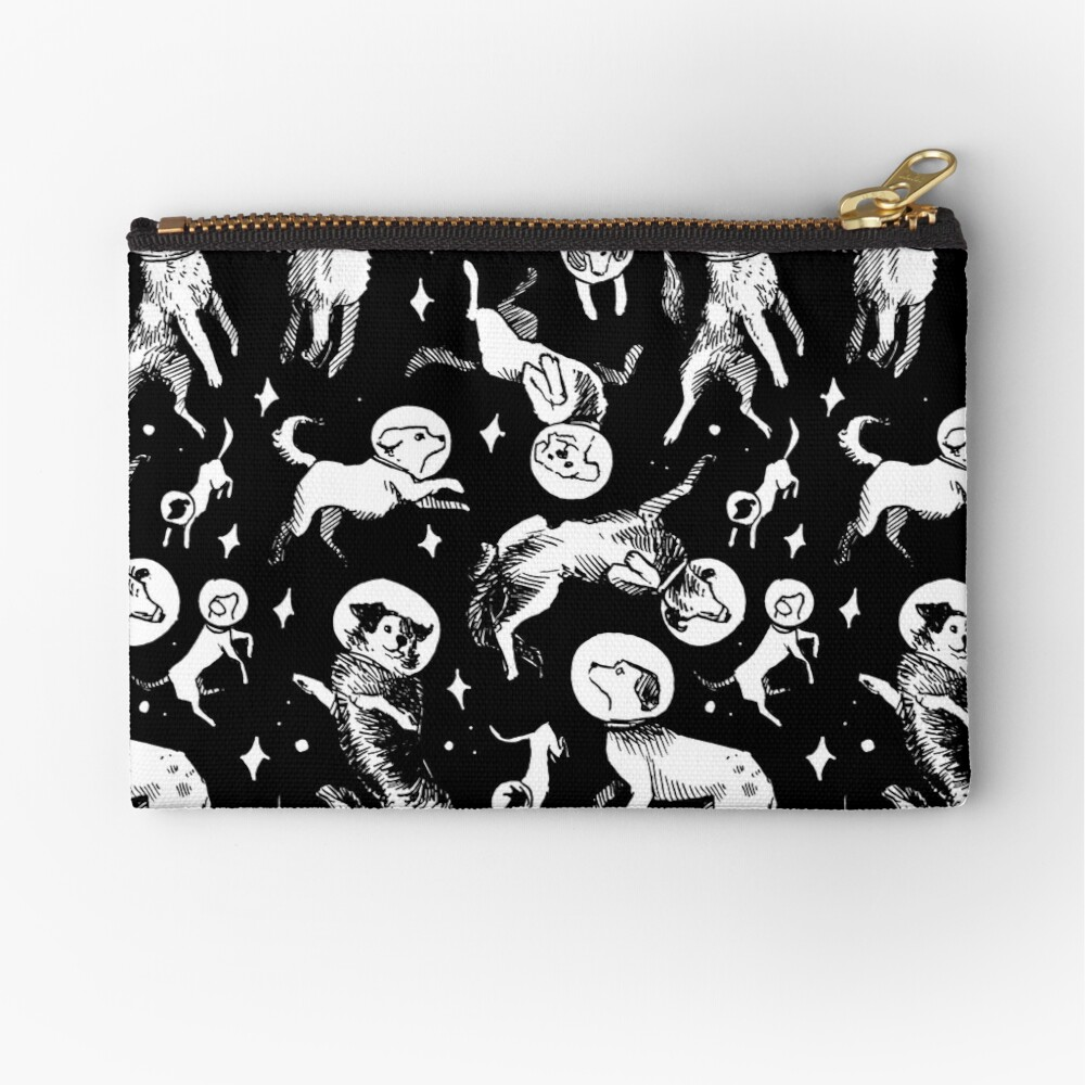 Space dogs (black background) Zipper Pouch