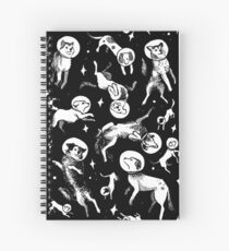 Space dogs (black background) Spiral Notebook