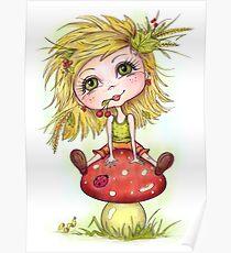Girl on Mushroom Poster