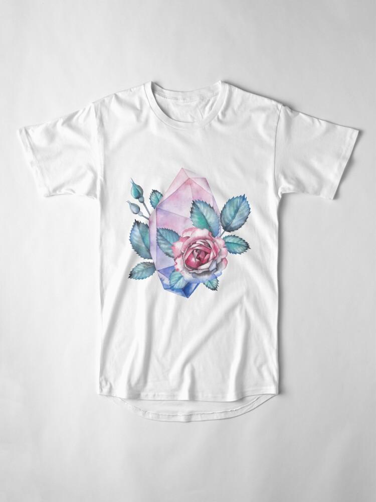 Alternative Ansicht von Nette Aquarellsammlung Rosen und Kristalle Longshirt