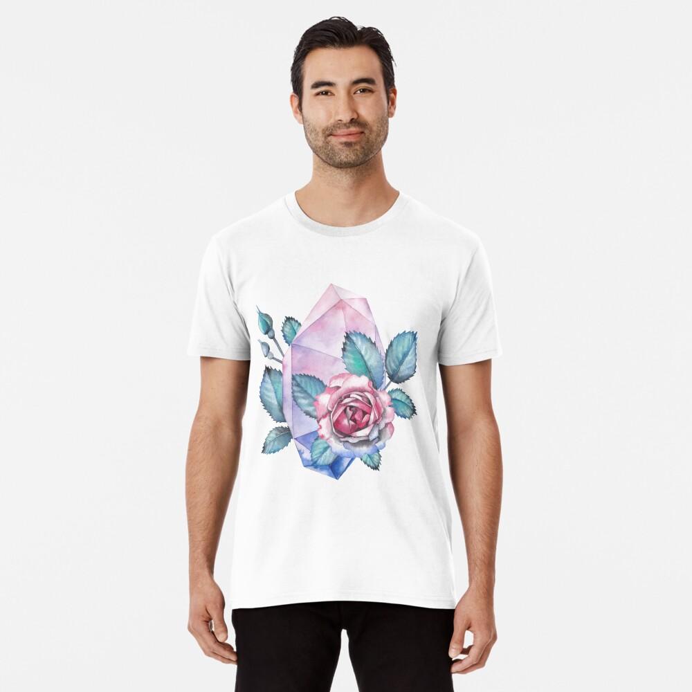 Nette Aquarellsammlung Rosen und Kristalle Premium T-Shirt