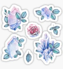 Cute watercolor collection of roses and crystals Sticker
