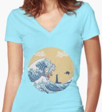 Camiseta entallada de cuello en V El gran mar