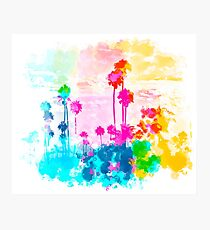 palm tree wth colorful painting abstract background in pink blue green red yellow Photographic Print