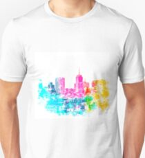 city at San Francisco, USA with colorful abstract background in pink blue yellow green T-Shirt