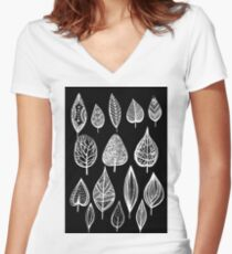 leaves of trees decor decoration  Women's Fitted V-Neck T-Shirt