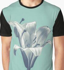 Flower On Blue Design Graphic T-Shirt