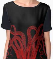 Red Vintage Octopus  Tentacles Illustration Chiffon Top
